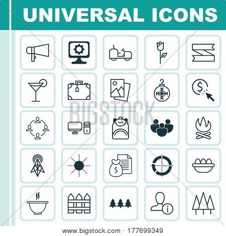 Set Of 25 Universal Editable Icons. Can Be Used For Web, Mobile And App Design. Includes Elements Such As PC, Wireless Router, Bullhorn And More.
