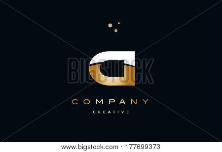 Ci C I  White Yellow Gold Golden Luxury Alphabet Letter Logo Icon Template