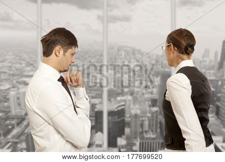 Arguing, conflict, business concept. The conflict between businessmen