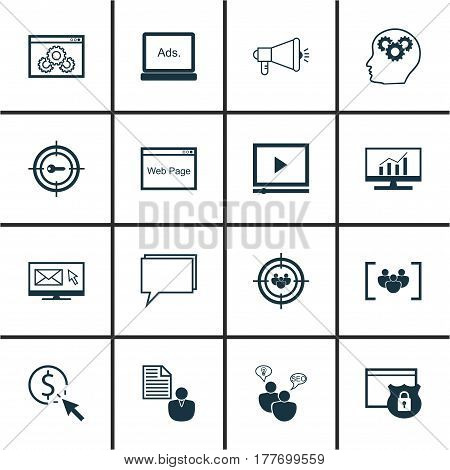 Set Of 16 Advertising Icons. Includes Web Page Performance, Website, Search Optimization And Other Symbols. Beautiful Design Elements.
