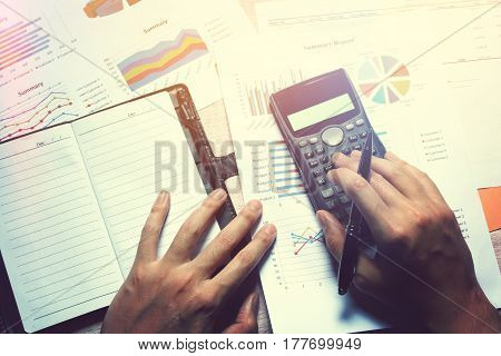 Overhead View, Woman Hand Calculate Finance And Thinking About Future Success.