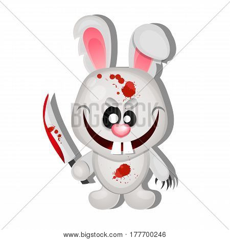Rabbit killer happy Halloween greeting card illustration