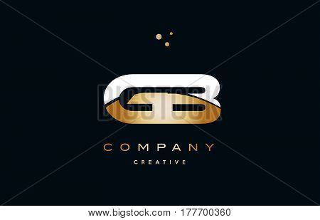 Gb G B  White Yellow Gold Golden Luxury Alphabet Letter Logo Icon Template