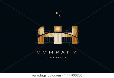 Hg H G  White Yellow Gold Golden Luxury Alphabet Letter Logo Icon Template