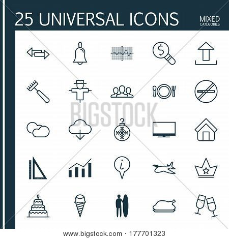 Set Of 25 Universal Editable Icons. Can Be Used For Web, Mobile And App Design. Includes Elements Such As Surf-Board, Crossroad, Estate And More.