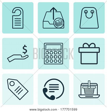 Set Of 9 Ecommerce Icons. Includes E-Trade, Present, Outgoing Earnings And Other Symbols. Beautiful Design Elements.