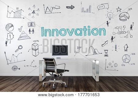 INNOVATION | Desk in an office with symbols. 3d Rendering.