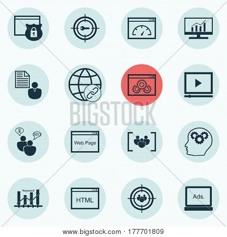 Set Of 16 Advertising Icons. Includes Security, Report, Focus Group And Other Symbols. Beautiful Design Elements.