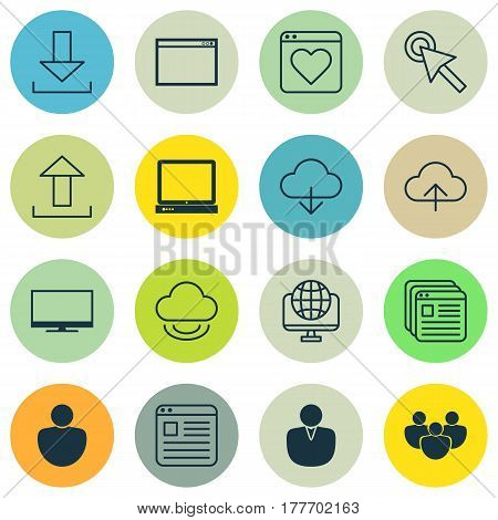 Set Of 16 Online Connection Icons. Includes Display, Account, Website Bookmarks And Other Symbols. Beautiful Design Elements.