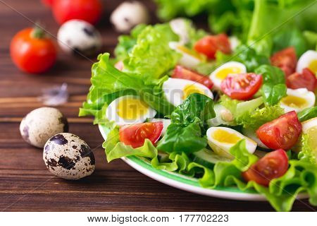 Letucce, Cucumber, Spinach, Basil And Quail Eggs Salad