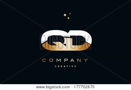 Qd Q D  White Yellow Gold Golden Luxury Alphabet Letter Logo Icon Template