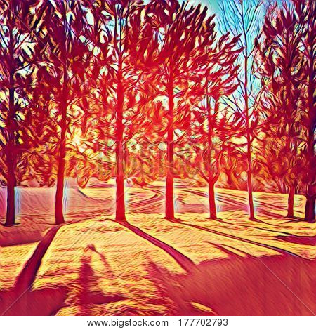 Digital painting - Sun though the trees in winter