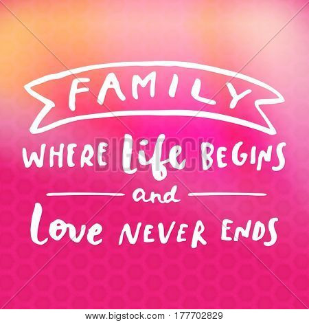 Quote - Family where life begins and love never ends