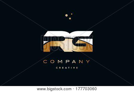 Rg R G  White Yellow Gold Golden Luxury Alphabet Letter Logo Icon Template