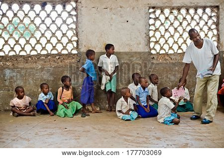 African children in school. Kenya. Mombasa January 25 2012