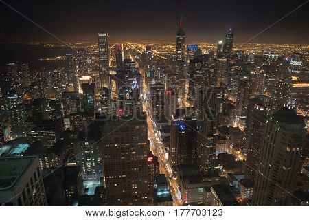 Top view of different majestic tall buildings situating in United States