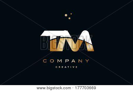Tm T M  White Yellow Gold Golden Luxury Alphabet Letter Logo Icon Template
