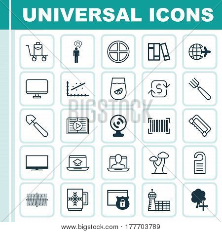 Set Of 25 Universal Editable Icons. Can Be Used For Web, Mobile And App Design. Includes Elements Such As Scoop, Social Profile, Price And More.
