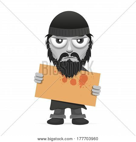 Unhappy homeless worker need job. Vector cartoon illustration