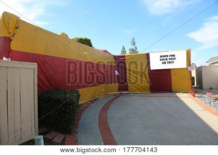 House tented for Termites and bugs. room for your text on blank white sign