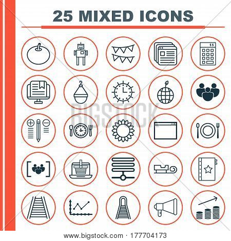 Set Of 25 Universal Editable Icons. Can Be Used For Web, Mobile And App Design. Includes Elements Such As Railway, Decorative Flags, Website Bookmarks And More.