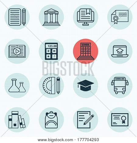 Set Of 16 Education Icons. Includes Transport Vehicle, Haversack, E-Study And Other Symbols. Beautiful Design Elements.