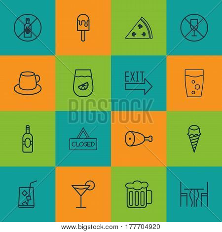 Set Of 16 Cafe Icons. Includes Fried Poultry, Doorway, Soda Drink And Other Symbols. Beautiful Design Elements.