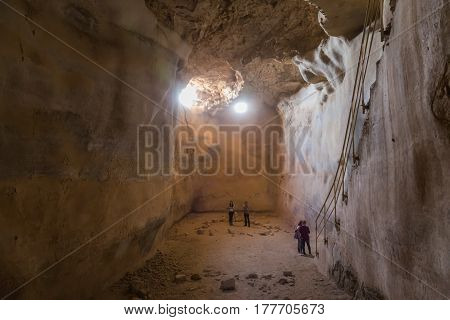 Masada, Israel - February 27, 2017:  Underground Tank For Storing Water In The Ancient Fortress Of M