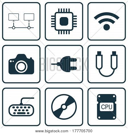 Set Of 9 Computer Hardware Icons. Includes Connector, Connected Devices, Cd-Rom And Other Symbols. Beautiful Design Elements.