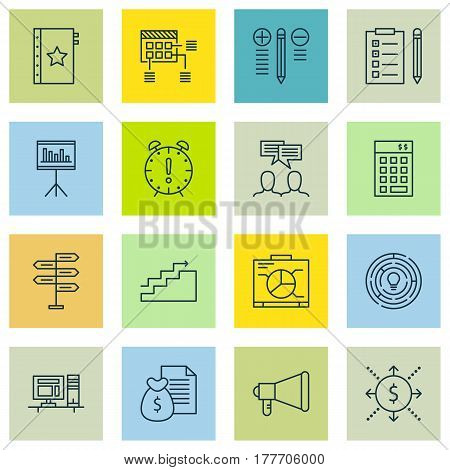 Set Of 16 Project Management Icons. Includes Presentation, Growth, Warranty And Other Symbols. Beautiful Design Elements.