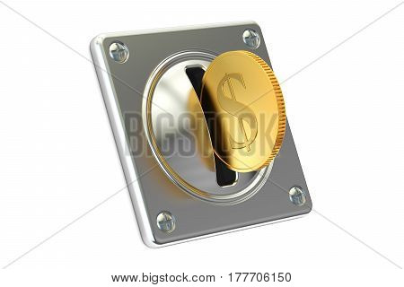 Coin Acceptor with golden coin 3D rendering isolated on white background