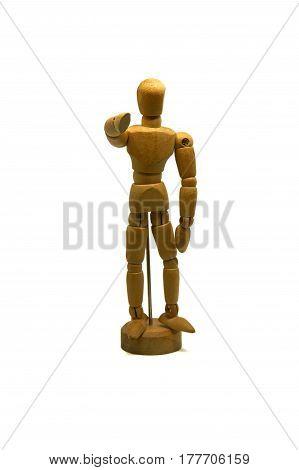 wooden mannequin, puppet, points his finger at you isolated