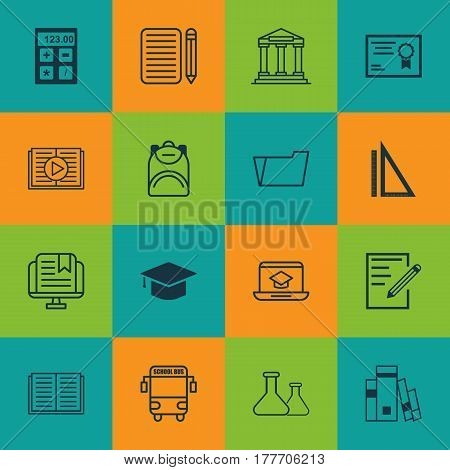 Set Of 16 Education Icons. Includes Document Case, Paper, Measurement And Other Symbols. Beautiful Design Elements.