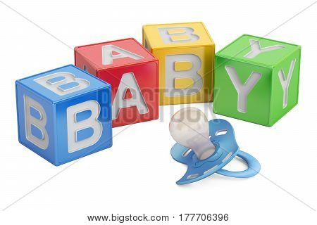 education for baby concept kid cubes with pacifier. 3D rendering