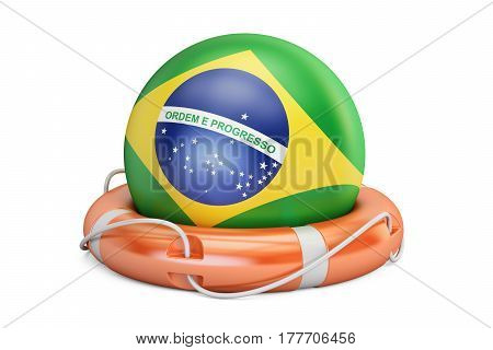 Lifebelt with Brazil flag safe help and protect concept. 3D rendering