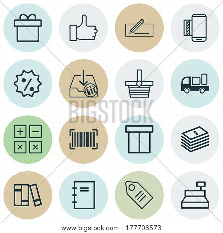 Set Of 16 Commerce Icons. Includes Ticket, Identification Code, Calculation Tool And Other Symbols. Beautiful Design Elements.