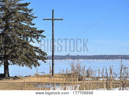 amazing wooden cross made from telephone poles in Minnesota