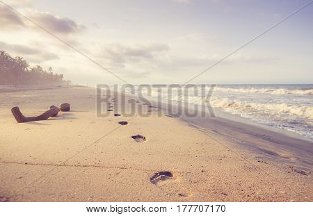 view on footprints in the sand at the beach
