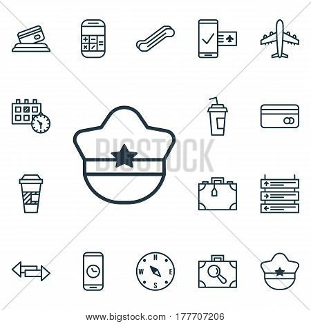 Set Of 16 Traveling Icons. Includes Stair Lift, Credit Card, Plastic Card And Other Symbols. Beautiful Design Elements.