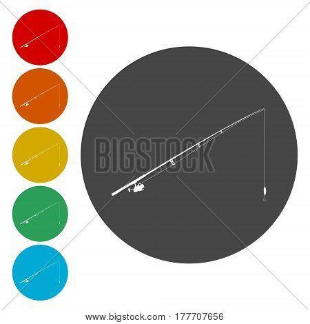 Fishing rod. Single flat icon on the circle. Vector illustration