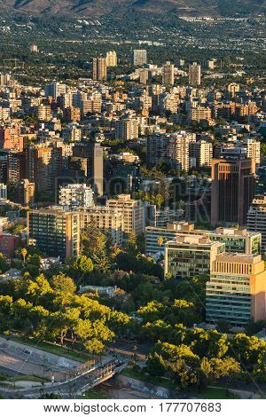 Santiago Region Metropolitana Chile - December 26 2016: View of buildings at Providencia district the most dense part of the city with residential and office buildings.