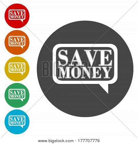 Button save money, simple vector illustration on white background