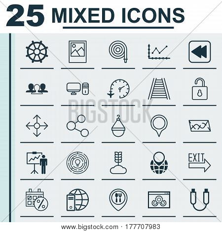 Set Of 25 Universal Editable Icons. Can Be Used For Web, Mobile And App Design. Includes Elements Such As Personal Computer, Railroad, Image And More.
