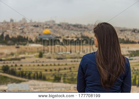 Panoramic View Of  Jerusalem Old City And The Temple Mount, Dome Of The Rock And Al Aqsa Mosque From