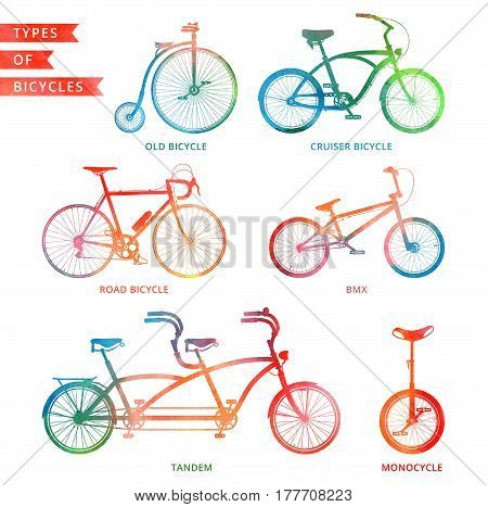 Types of watercolor bicycle: road bicycle BMX tandem monocycle old bicycle cruiser.