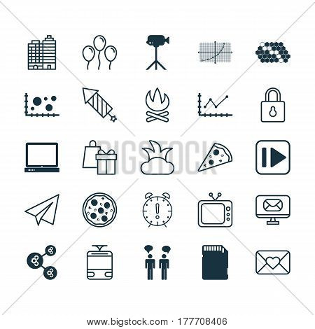 Set Of 25 Universal Editable Icons. Can Be Used For Web, Mobile And App Design. Includes Elements Such As Algorithm Illustration, Hotel, PC And More.