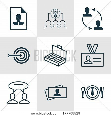 Set Of 9 Business Management Icons. Includes Dialogue, Cooperation, Authentication And Other Symbols. Beautiful Design Elements.