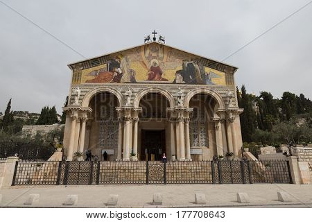 The Church of All Nations or Basilica of the Agony is a Roman Catholic church near the Garden of Gethsemane at the Mount of Olives in Jerusalem Israel.