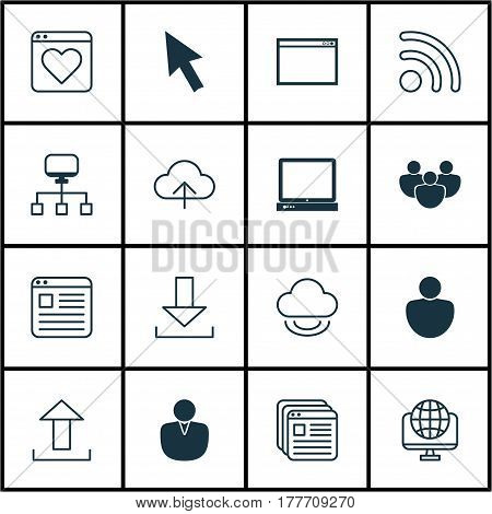 Set Of 16 World Wide Web Icons. Includes Followed Website, Computer Network, Login And Other Symbols. Beautiful Design Elements.