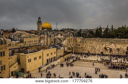 The Temple Mount - Western Wall and the golden Dome of the Rock in the old city of Jerusalem Israel